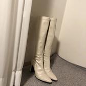 長靴 泫雅尖頭粗跟彈力高筒靴女米白色長靴高跟騎士靴顯瘦韓版不過膝靴 風尚