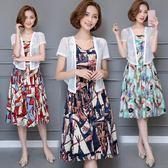 洋裝套裝 加大碼民族風兩件套文藝棉麻連身裙 巴黎春天