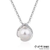 【Sayaka紗彌佳】清新透亮水滴間的珍珠鑲鑽吊墜項鍊 -單一色系