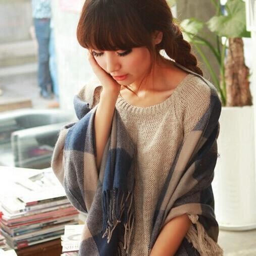 披肩圍巾 格紋仿羊絨流蘇長款圍巾 - 8色【Ann梨花安】