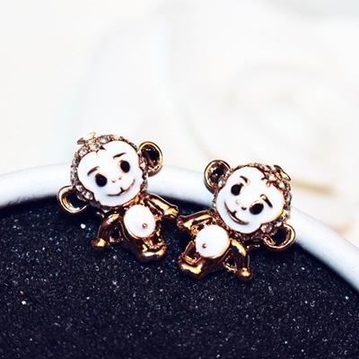 耳環 玫瑰金純銀鑲鑽-可愛猴子生日情人節禮物女飾品73ca180【時尚巴黎】