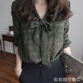 交換禮物雪紡長袖襯衫女長袖春裝新款韓範氣質時尚格子襯衣 貝芙莉