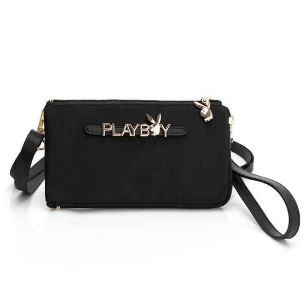 PLAYBOY- 手機收納包(附手挽帶與長背帶) Function系列 -黑色