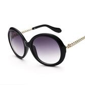 太陽眼鏡-偏光個性金屬鏈腿圓形抗UV女墨鏡4色71g24[巴黎精品]