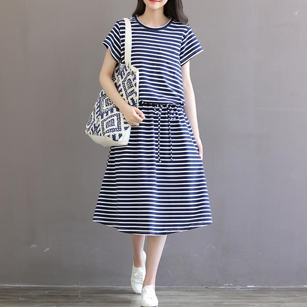 *ORead*韓版學院風小清新棉質條紋短袖連身裙(藍色M~2XL)