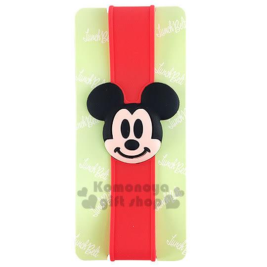 〔小禮堂〕迪士尼 米奇 矽膠便當盒束帶《紅.立體大臉》最大周圍長度30cm 4973307-36830
