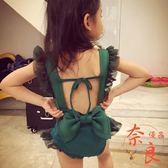 女童泳衣女孩親子性感露背裝連身泳裝發帶套裝【奈良優品】