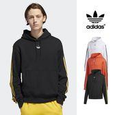 【GT】Adidas Originals 黑橘灰 連帽T恤 長袖 運動 休閒 寬鬆 純棉 刷毛 帽衫 愛迪達 三葉草 基本款 Logo