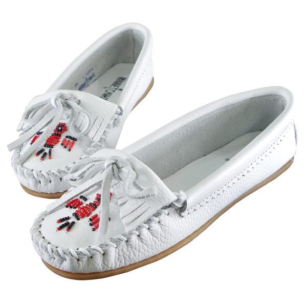 美國正品【MINNETONKA】 白色雷鳥真皮莫卡辛豆豆鞋【現貨在台-24H寄出】