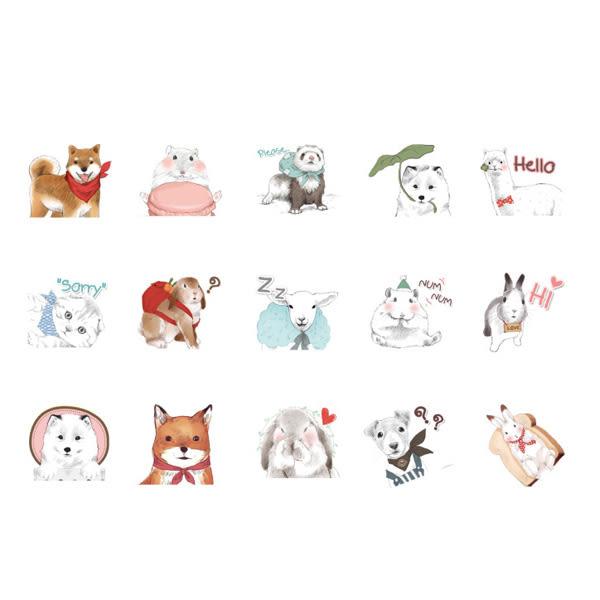 【BlueCat】Hello萌寵大合集盒裝貼紙 手帳貼紙 (45入)