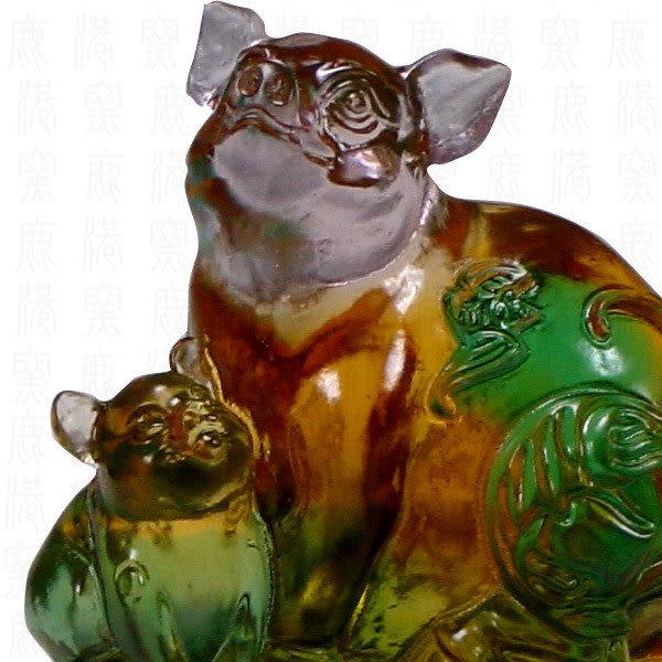 鹿港窯-居家開運商品-琉璃SS十二生肖文鎮-豬-附精美包裝◆免運費送到家