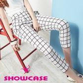 【SHOWCASE】質感顯瘦格紋休閒七分褲(白)