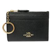 【COACH】新款防刮牛皮悠遊卡鑰匙零錢包(黑)