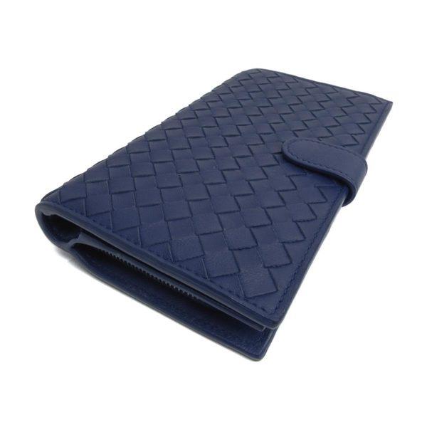 BOTTEGA VENETA BV 靛藍色編織羊皮釦式中夾 【二手名牌 BRAND OFF】