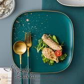 【Homely Zakka】北歐輕奢風金邊陶瓷餐具_大方形平盤復古綠