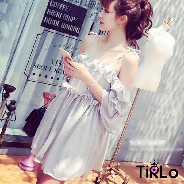 洋裝-Tirlo-性感細肩帶露肩荷葉下擺公主洋裝-四色(現貨)