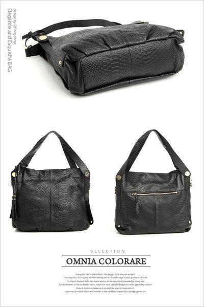 OMC - 繽紛系全牛皮流蘇肩背式水桶包 ─ 時尚黑