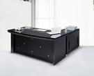 【IS空間美學】晶鑽黑金剛6.5尺主管桌整組(L型)(恕不拆賣)
