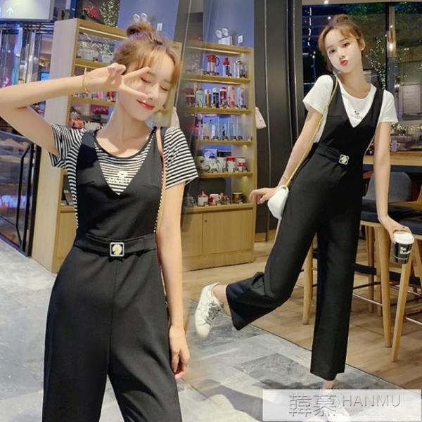黑色吊帶褲套裝女夏季薄款兩件套韓版寬鬆雪紡九分墜感吊帶褲減齡 母親節特惠