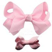 Cutie Bella 手工蝴蝶結髮夾 羅紋緞帶 全包布 中小款二入套組-Pinky