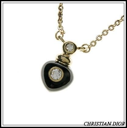 Christian Dior CD璀燦黑色愛心造型項鍊(玫瑰金)990183