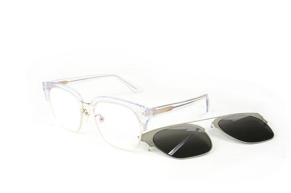 YuYu-ChangChiaYu 時尚太陽眼鏡 BEING 平光系列+ 前掛式太陽眼鏡- 透銀色(透明純淨)