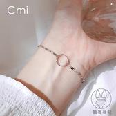 925銀幾何圓圈瓦片手鏈簡約清新小眾設計冷淡風手環韓版女【貼身日記】