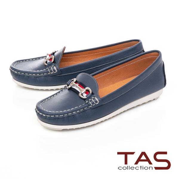 TAS 撞色一字金屬立體縫線莫卡辛便鞋-知性藍