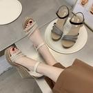 坡跟涼鞋 夏季新款坡跟厚底增高時尚水鑚涼鞋女韓版高跟防滑百搭女鞋子