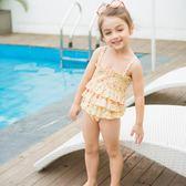 兒童泳衣女童中小童女孩連體游泳衣寶寶嬰幼兒公主可愛泳裝防曬   初見居家
