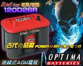 【美國OPTIMA電池】紅霸電瓶 120D26L (越野車 吉普車 露營車 改音響 發電機 重低音 擴大機)