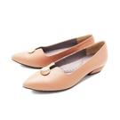 【南紡購物中心】WALKING ZONE (女)尖頭金釦娃娃鞋 包鞋 女鞋 -可可(另有黑)