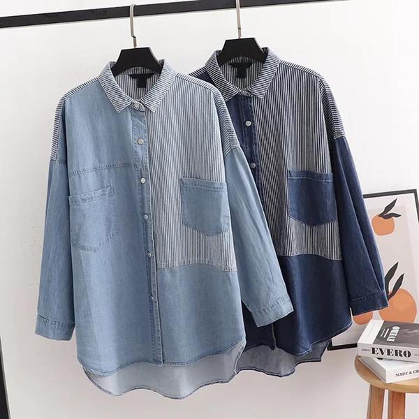 *ORead*日系復古風休閒拼色條紋牛仔襯衫(2色M,L)