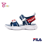 FILA童鞋 男童涼鞋 運動涼鞋 經典色 輕量涼鞋 魔鬼氈 雙帶涼鞋 兒童涼鞋 R7630#白藍◆OSOME奧森鞋業