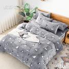 床包被套組(兩用毯被套)-雙人加大 / 法蘭絨四件式 / 抗靜電 / 黑白喵語