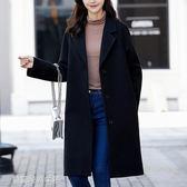 西裝外套 秋冬呢子大衣女中長款韓版寬鬆大碼顯瘦西裝領毛呢外套潮 【夢露時尚女裝】