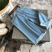 2018女童寶寶寬鬆蝴蝶結牛仔褲 兒童夏季新品時尚休閒純色闊腿褲