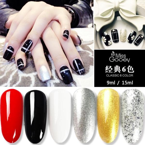 黑白色甲油膠大紅色純白正黑金銀色大亮片光療指甲油小亮片透明色