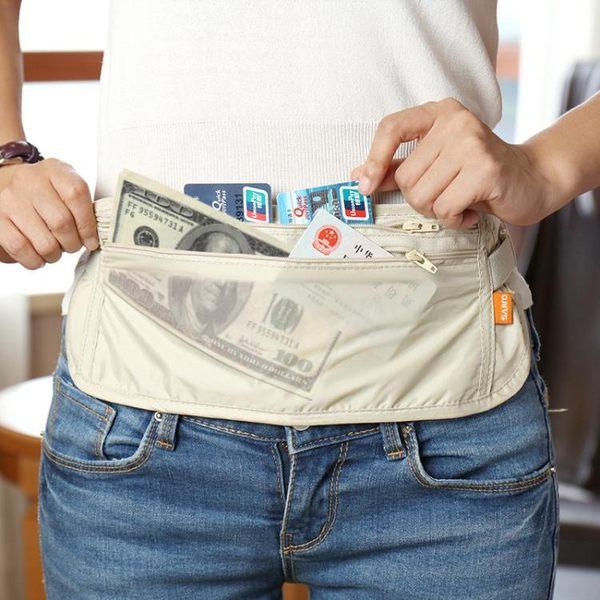 出國旅行貼身防盜腰包 旅游運動護照包隱形錢包超薄防偷錢包男女  晴光小語