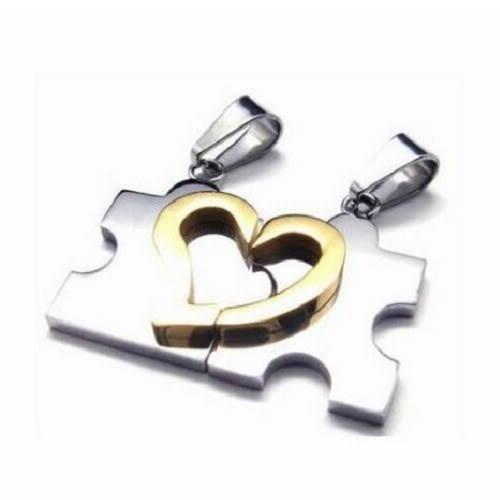 心形拚圖項鍊 鈦鋼項鍊 情侶對鍊 白鋼項鍊 西德鋼項鍊 愛心項鍊 情人節 禮物 沂軒精品 F0084
