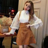 2018秋季新款韓版氣質網紗長袖拼接上衣 高腰A字背帶半身裙套裝女