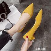 鞋子女2019新款淺口女鞋高跟鞋尖頭絨面黑色女冬低跟單鞋女工作鞋『艾麗花園』