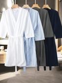 睡袍 夏季溫泉浴袍女士薄款睡袍華夫格男吸水速干浴衣美容院情侶家居服