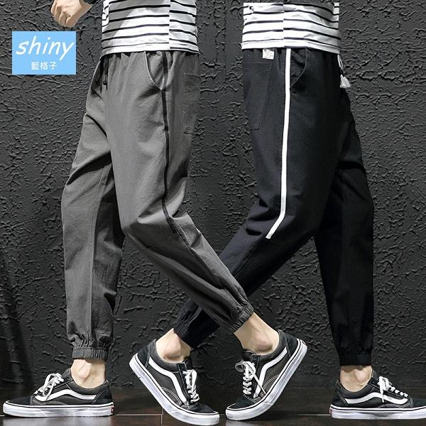 【Y177】shiny藍格子-街頭潮流.百搭寬鬆哈倫束腳九分運動褲