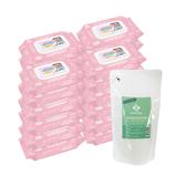【奇買親子購物網】貝比QEDI超厚超純水柔濕80抽24包/箱/無香料+台塑生醫奶瓶專用洗潔劑補充包*1包