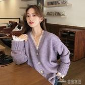 當當衣閣-開衫外套女針織衫2020春秋季洋氣寬鬆學院風紫色仙女V領毛衣上衣
