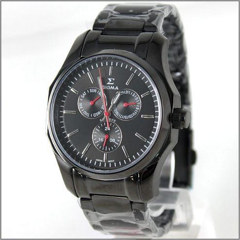 【萬年鐘錶】SIGMA日系 三眼時尚錶 1018M-B