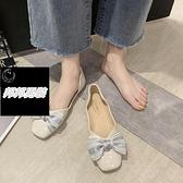 單鞋女蝴蝶結奶奶鞋懶人一腳蹬豆豆鞋工作鞋樂福鞋品牌【邦邦男裝】