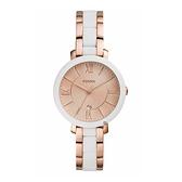 【Fossil】Jacqueline 白金雙色拼接時尚腕錶-白金款/ES4588/台灣總代理公司貨享兩年保固