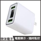 雙孔LED顯示充電器(WA-1) 3A/快充/電壓/電流/安全